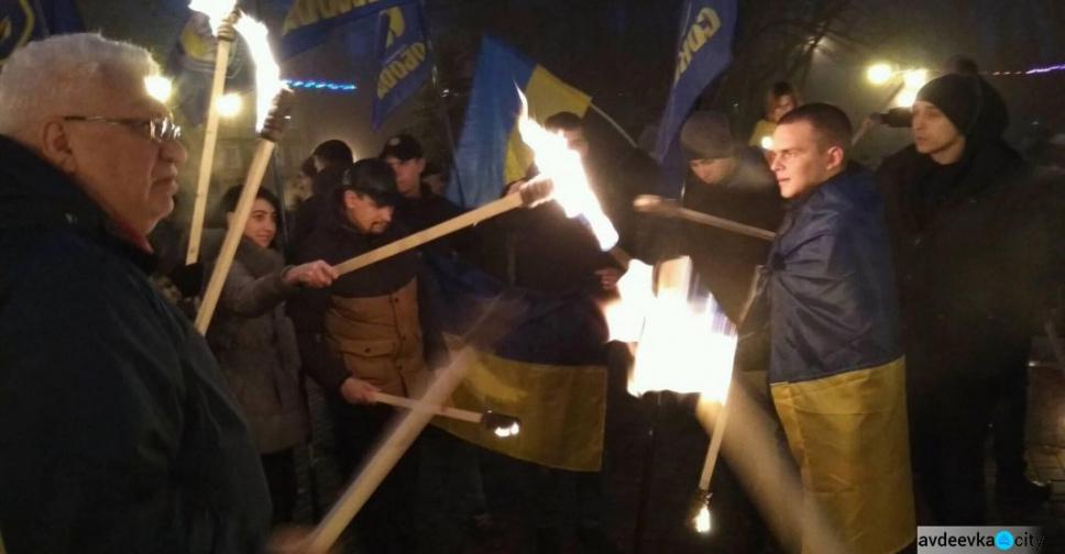 ВКиеве проходит факельное шествие «бандеровцев»